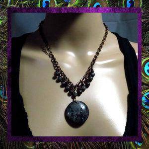 Labradorite & Garnet Gemstone Copper Necklace NWT